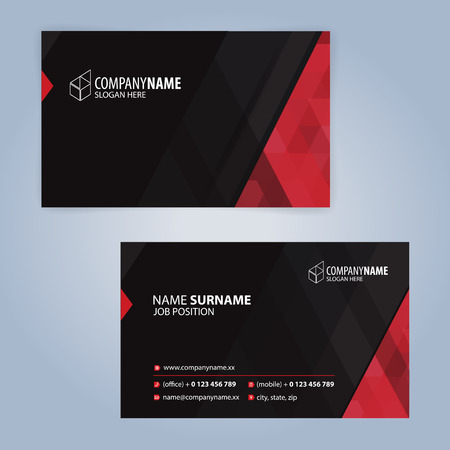 Red and Black modern business card template illustration