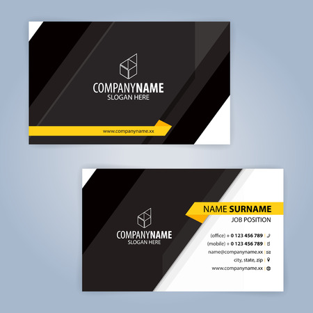 Yellow and Black modern business card template illustration Illustration