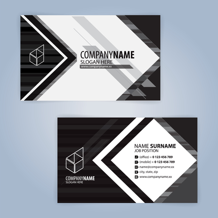 White and black modern business card template illustration vector vector white and black modern business card template illustration vector with polygonal design fbccfo Gallery