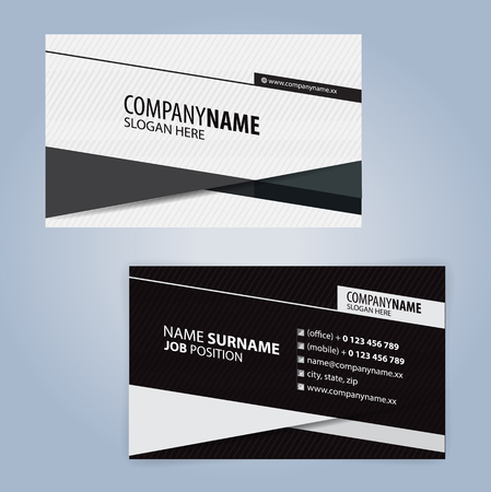 White and Black modern business card template, Illustration Vector with linear design