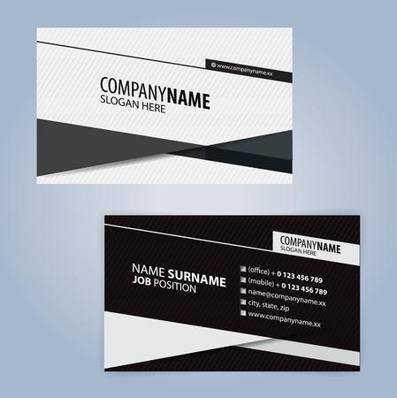 Witte en zwarte moderne visitekaartjesjabloon, Illustratievector met lineair ontwerp
