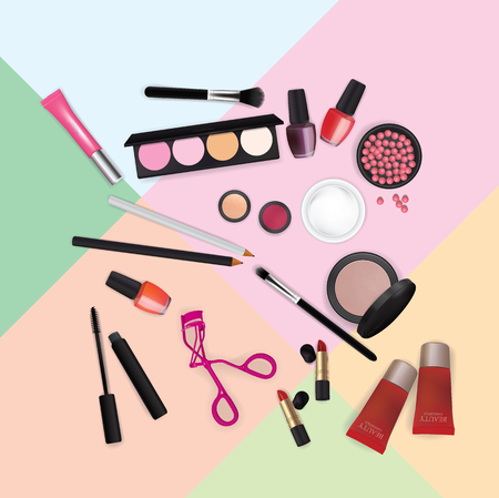 Sets of cosmetics on Pantone Color Background Vector illustration.