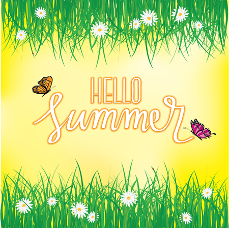 Hello Summer, Butterfly flying above the grass with flowers, Spring, Summer background Vector illustration.