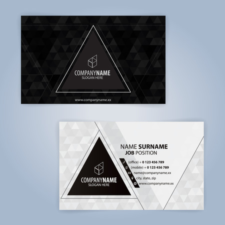 Black and white modern business card template with triangular black and white modern business card template with triangular design stock vector 99335420 cheaphphosting Gallery