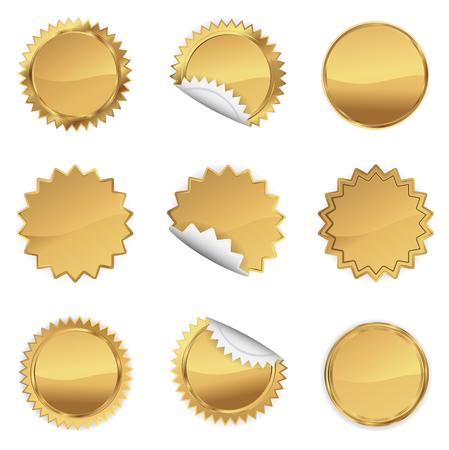 Gold Starbursts Set,  Illustration Vector 10