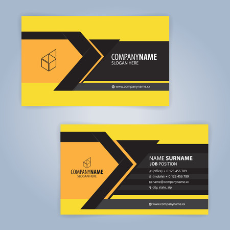 Black and Yellow modern business card template, Illustration Vector 10 Иллюстрация