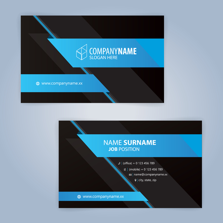 Blue and Black modern business card template, Illustration Vector 10 Stock Illustratie