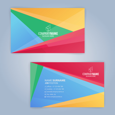 Colorful modern clean business card template. Flat design