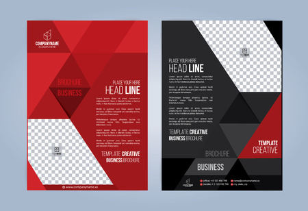 Black and Red Business Brochure. Leaflets Template. Cover Book, Magazine.