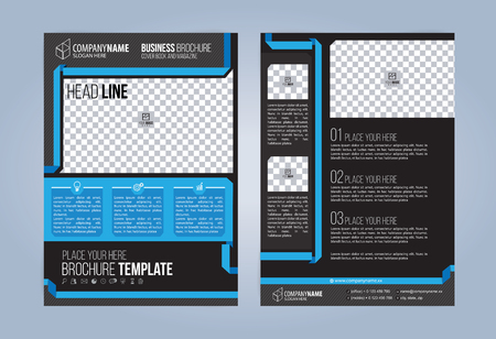 Black and Blue Business Brochure. Leaflets Template. Cover Book, Magazine.