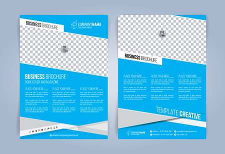 Blue and White Business Brochure. Leaflets Template. Cover Book,