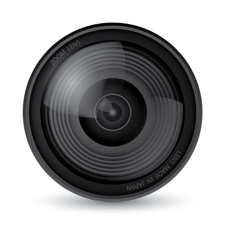 Kameraobjektiv auf weißem Hintergrund, Illustrationsvektor 10
