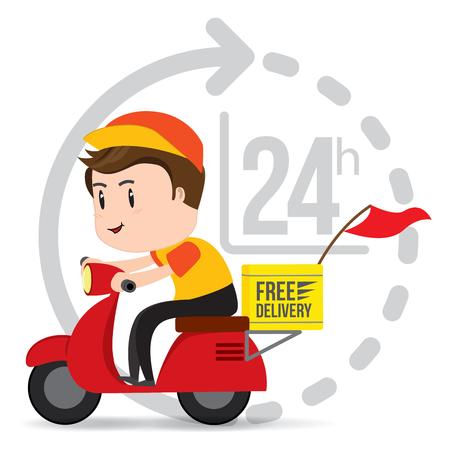 Service de moto de scooter de tour de garçon de livraison, expédition, transport rapide, vecteur