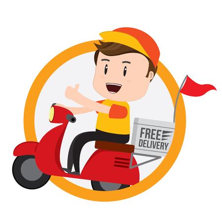 Delivery Boy Ride Scooter Moto Service, envío, transporte rápido, Vector Ilustración de vector