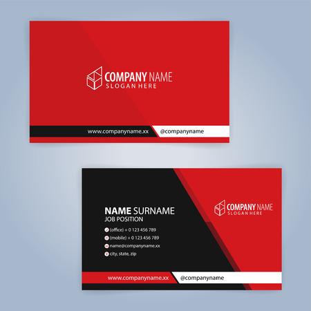 Plantilla de tarjeta de visita moderna roja y negra, Vector de ilustración 10