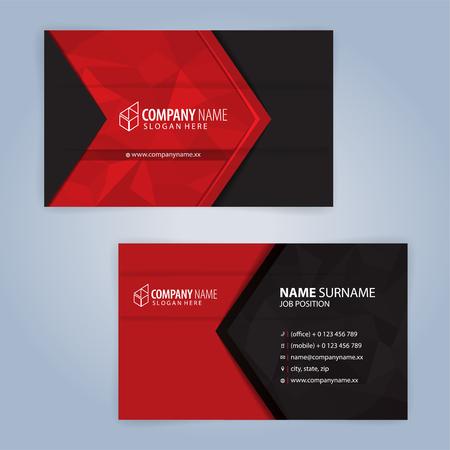 Modèle de carte de visite moderne rouge et noir, illustration vectorielle 10