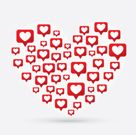 Like Icon, Counter Notification Icon, Heart Icon, Social Media, illustration, EPS 10 Ilustrace