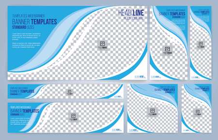 Blue and White Web banners templates, standard sizes with space for photo, modern design Banque d'images - 120143763
