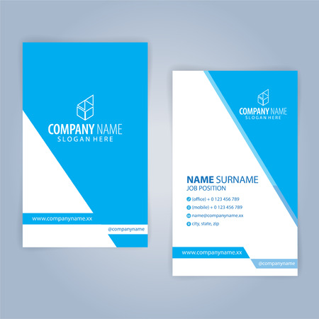 Business card template. Blue and White, vertical, Illustration Vector10