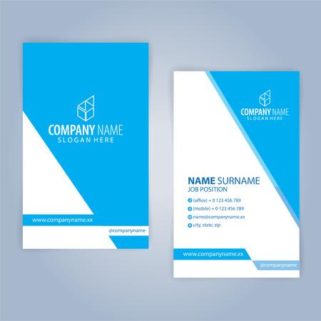 Plantilla de tarjeta de visita. Azul y blanco, vertical, ilustración vectorial 10