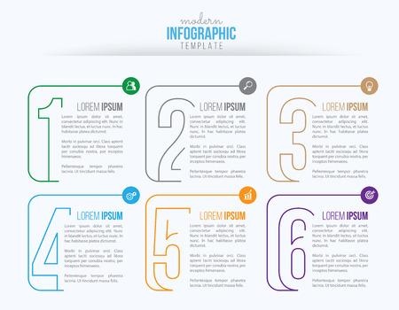 Vector de diseño de infografías de negocios e icono de marketing, diseño de flujo de trabajo, diagrama, diseño web