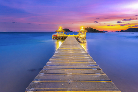The bridge that stretches out into the sea at sunset, Koh Mak, Trat, Thailand Stok Fotoğraf