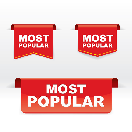 Set of Red Banner Vector, Most Popular, vector concept, illustration, EPS 10
