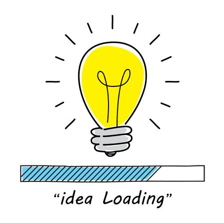 Loading bar with light bulb. Business Design Concept. Vector illustration flat style design