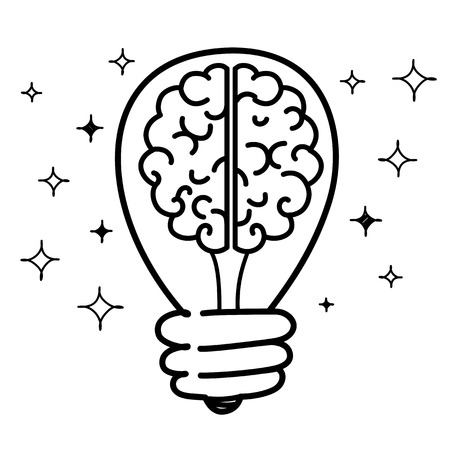 Brain with Idea Light Bulb. Business Design Concept. Vector illustration flat style design Illustration