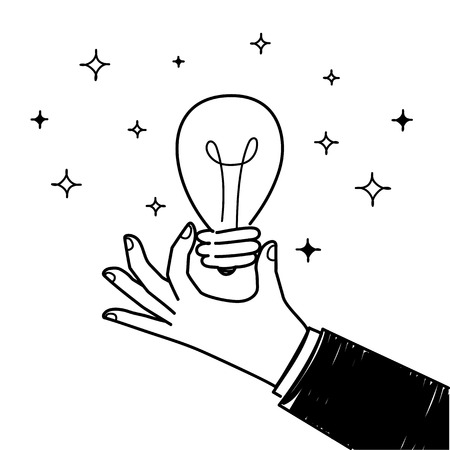 Hand with Idea Light Bulb. Business Design Concept. Vector illustration flat style design