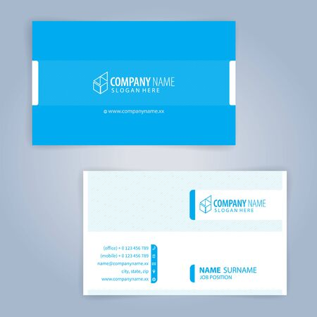 Business card template. Blue and White, Illustration Vector 向量圖像