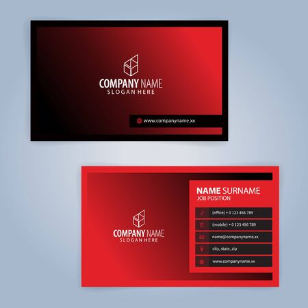 Red and Black modern business card template, Illustration Vector