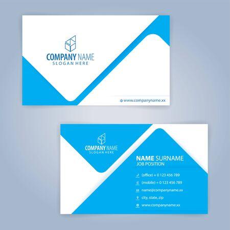 Blaue und weiße moderne Visitenkartenschablone, Illustrationsvektor Vektorgrafik