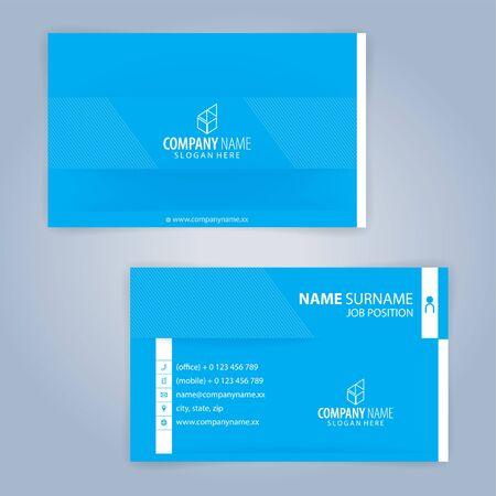 Modèle de carte de visite moderne bleu et blanc, vecteur d'illustration