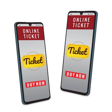 Mobile smartphone with the app to buy tickets, Smartphone with shopping app.