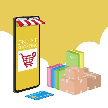 Mobile application for shopping, Online supermaket, Smartphone with shopping app. Vectores