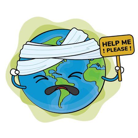 The world holds help sign Cartoon Vector Illustration Hand