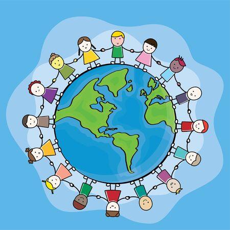 Children hand in hand around the world Cartoon Vector Illustration Hand Vectores