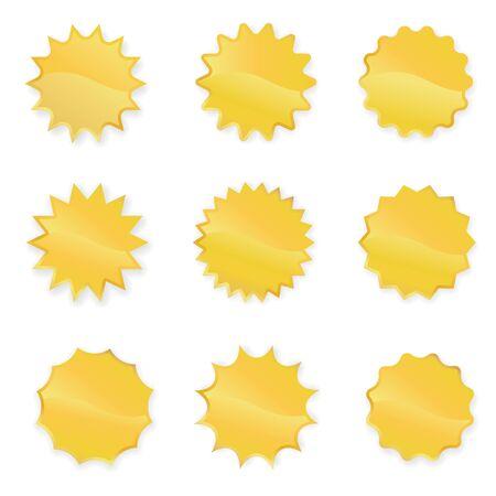 Gold Starbursts Set Vector Illustration Foto de archivo - 145753172