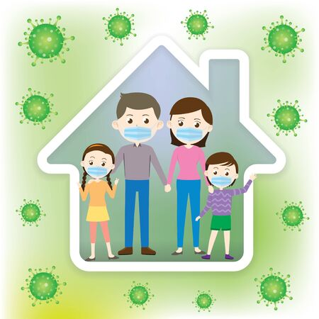 The family is wearing a mask Vector Illustration Vectores