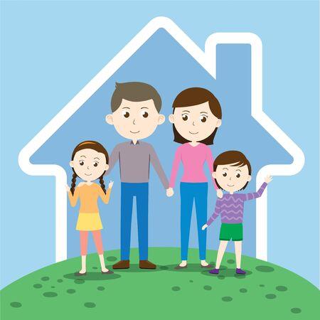 Happy cartoon family with small kids Vector Illustration