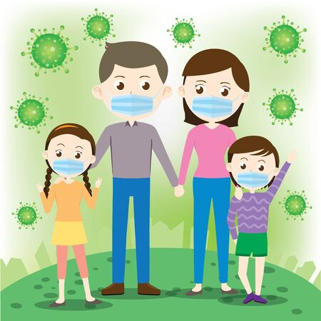 The family is wearing a mask Vector Illustration Foto de archivo - 145753192