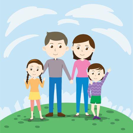 Happy cartoon family with small kids Vector Illustration Foto de archivo - 145667499