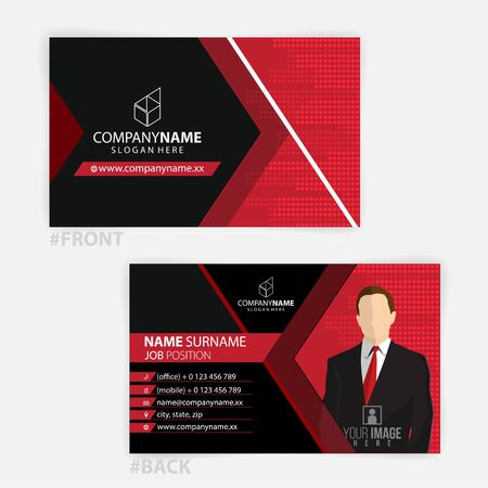 Red and Black business cards design, standard sizes, modern design Foto de archivo - 147646805