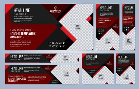 Red and Black Web banners templates, standard sizes with space for photo, modern design Foto de archivo - 147853234