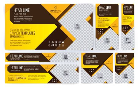 Yellow and Black Web banners templates, standard sizes with space for photo, modern design