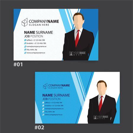 blue and white business cards design, vector Foto de archivo - 148426165