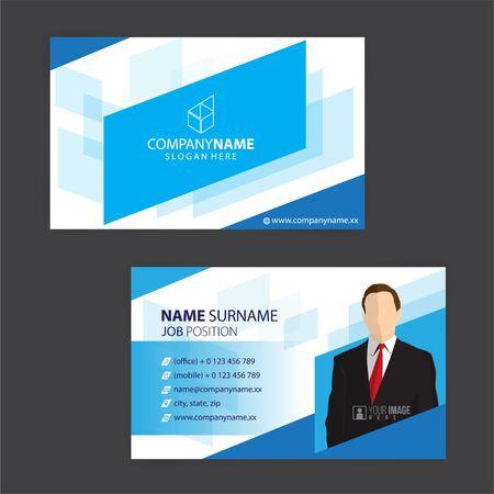 conception de cartes de visite bleu et blanc, vecteur