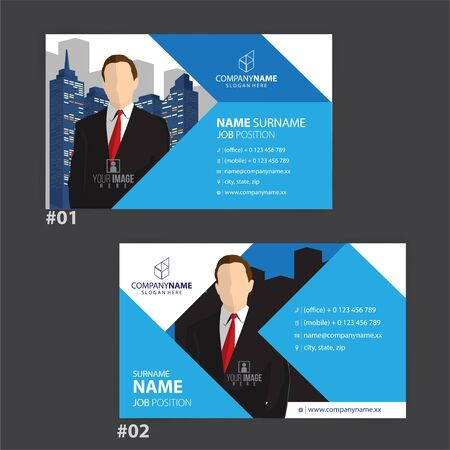 blue and white business cards design, vector