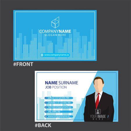 blue and white business cards design, vector Foto de archivo - 148426261